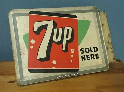 VTG 1955 7UP Sold Here Button Soda Pop Flange Sign Stout Sign Co. St. Louis, MO