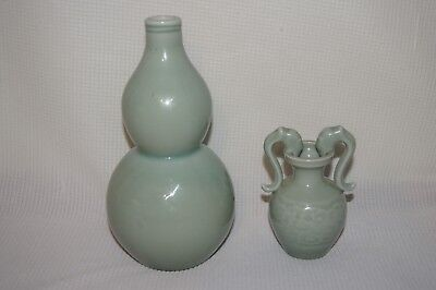 Chinese Vintage Celadon Vases Double Gourd And Dragon Handles