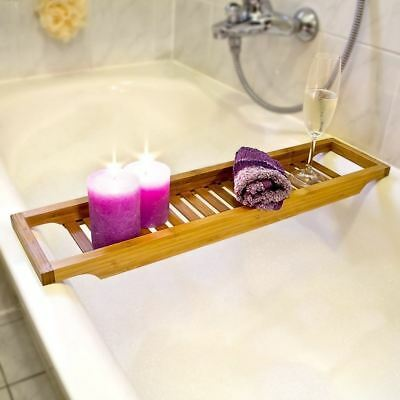 BAMBOO WOODEN OVER Bath Tray Caddy Rack Shelf Tablet Phone Wine ...