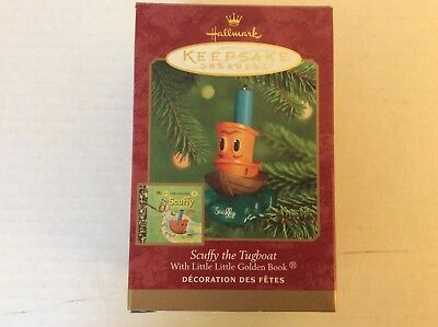 """2000 Nib Hallmark Ornament & Golden Book """"scuffy The Tugboat"""" Handcrafted Dated"""