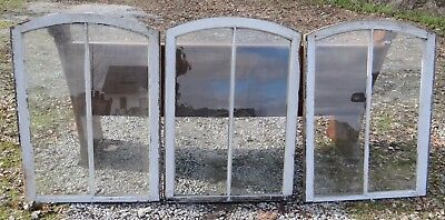 Nice Set of 3 Antique Arch Top Antique Windows Shabby White Paint Wavy Glass