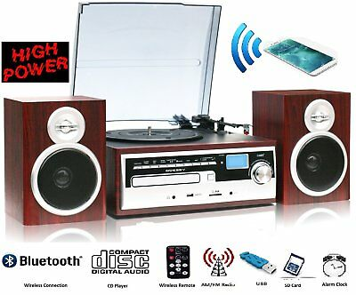 Bluetooth Turntable Vinyl LP Record CD MP3 Player W/ Remote control 50W Speakers