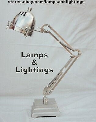 Angel Poise Balancing SILVER Table Desk Lamp Light Industrial