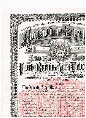 Argentine Republic, 1892, Port of Buenos Aires Debent., LB 100 payable in Gold