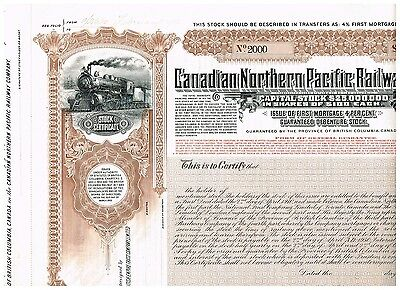 Canadian Northern Pacific Railway Co., 1912, scarce SPECIMEN