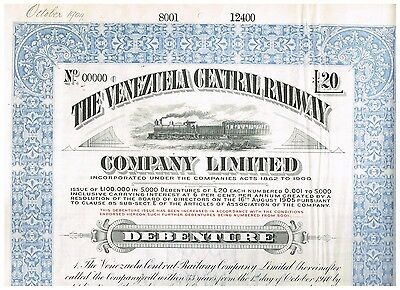 Venezuela Central Railway Co.Ltd., 19xx, SPECIMEN, rare