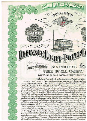 Defiance Light and Power Co., 1891, 500$ Gold Bond, uncancelled/ coupons