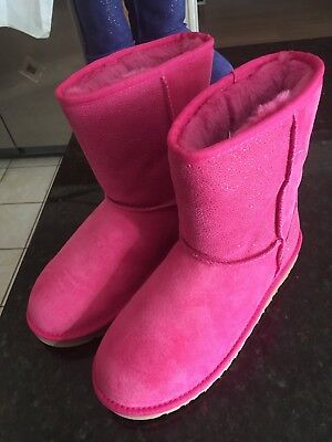 NWOT Girl's UGG Suede Sparkle Boots Pink Youth Size 6