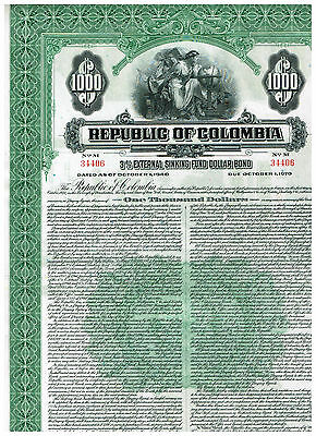 Republic of Columbia, 1940, 1000$ bond, cancelled