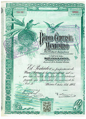 Banco Central Mexicano, Mexico 1905, uncancelled/ coupons