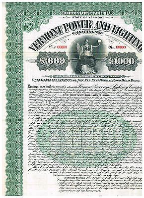 Vermont Power and Lighting Co., Gold bond 1000$, SPECIMEN