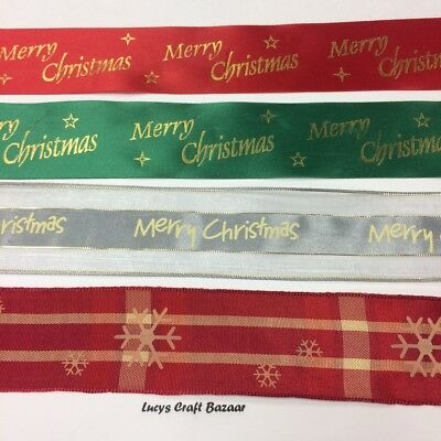 38mm & 40mm sold by the metre. Wide Christmas Ribbon Mixed Wired Satin Metallic