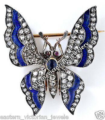 Estate 3.05Ct Pave Rose cut Diamond Sapphire Silver Butterfly Brooch Pin Jewelry