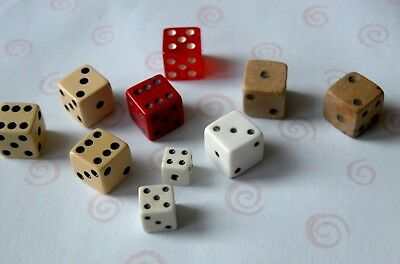 Lot of 10 Vintage Dice Mixed Sizes & Materials