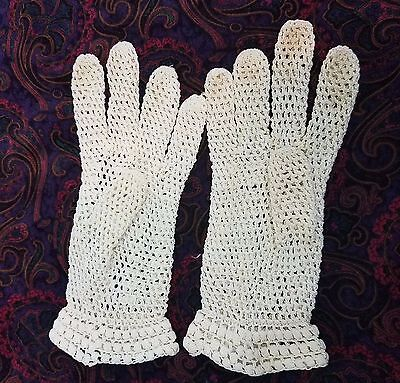 Crocheted Lace Gloves Sz Small to Medium Vtg Ecru Handmade Victorian Look