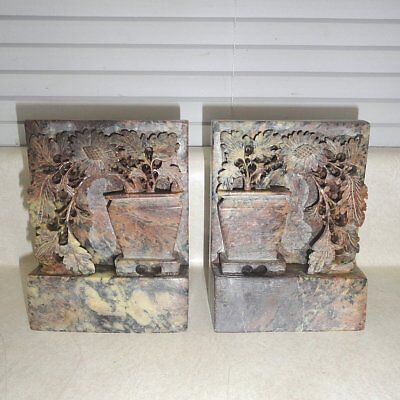 """Vintage Hand Carved Marble Tall And In Pot Flowers Bookends 5.25"""" X 4"""""""