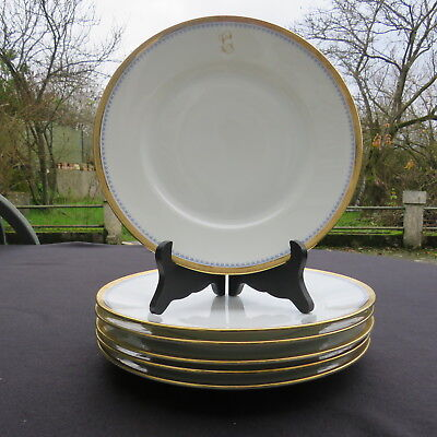 6 assiettes plates en porcelaine Richard Ginori décor blanc double dorure 2