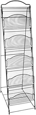 New Safco Products 6461Bl Onyx Mesh Floor Rack 5 Pocket Black Literature Stands