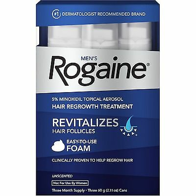 Rogaine Hair Regrowth for Men 5-Minoxidil Topical Foam 3 month exp 2018