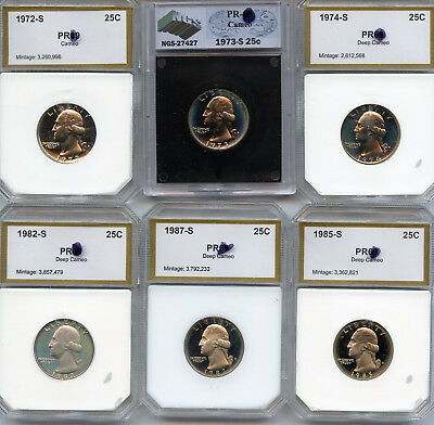 1972-S, 73-S, 74-S, 82-S, 85-S, 87-S, PROOF Washington quarters, a total of 6