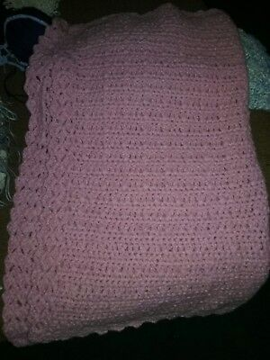 "Beautiful Hand knitted Baby Blanket 32×34"" thick and very soft"