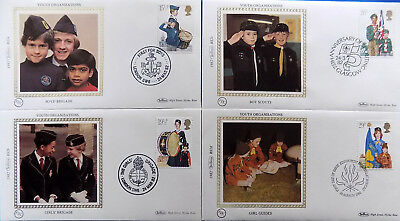 BOYS & GIRLS YOUTH ORGANISATIONS 1982 BENHAM SILK LIMITED EDITION SET of 4 FDC's