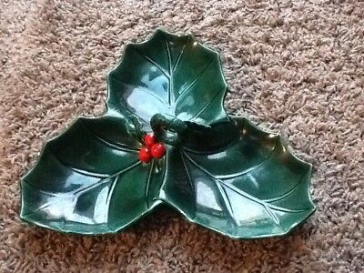 Vintage Lefton Holly Berry Holiday Christmas Divided Nut Candy Dish Tray #1351