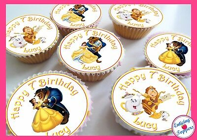 24 Beauty and the Beast Birthday Celebration Personalised Cake Toppers