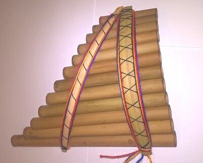 Genuine Andean Sisca Curved Pan Pipes/ Flute 12 pipes