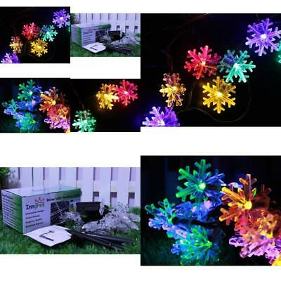 String Light  Snowflake 20 ft 30 LED Waterproof Solar Power for Parties Decorate