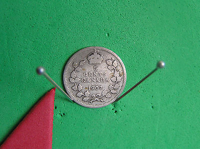 L-too:1907 CANADA SILVER 5 CENTS~.925 SILVER *K.EDW. ->see ship info small items