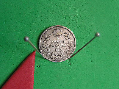 L-too:1912 CANADA SILVER 5 CENTS~.925 SILVER *K.EDW. ->see ship info small items