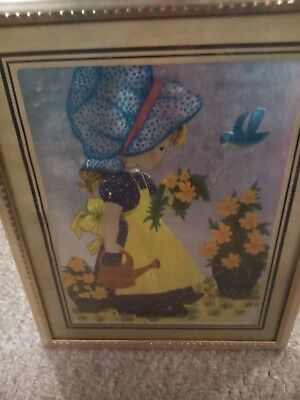 Adorable flower girl photo and frame, in good condition, used