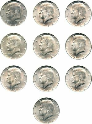 10 , 1964 Kennedy Half Dollars , 90% Silver US Coin Lot! $5 Face! 01