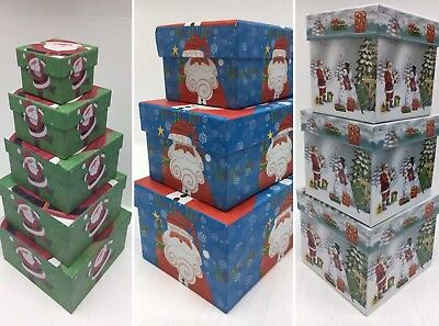Sets Of Small Christmas Xmas Gift Boxes With Lids 3 Set Sizes To Choose From SH