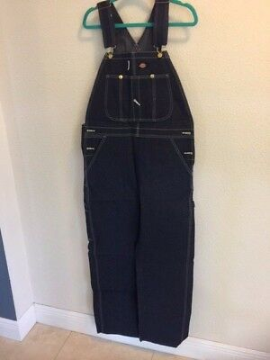 Dickies Men's Bib Overalls Fits Over Boots Denim Blue Size 32 X 30 NOS