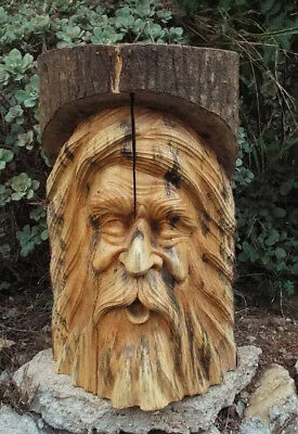 Green Man Pole Statue Stool Table Gnome Tree Spirit Wood Carving Wicca Decor