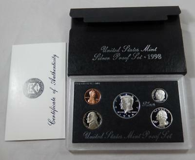 1998-S US United States Mint Silver Proof 5 Coin Set Complete w/ Box & COA CB132