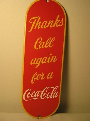 Coca-Cola Porcelain Door Push Sign - 1 Sided