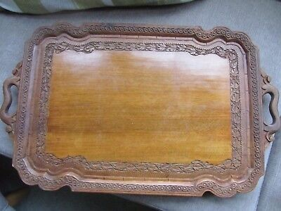 Antique Decorative Carved Wood Tray on small stand home decor bar restaurant