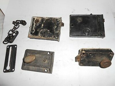 antique/vintage door latch/lock cast iron untested used