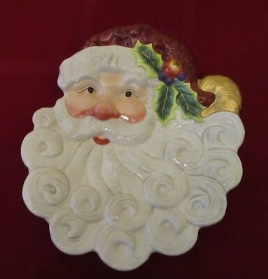 """Fitz And Floyd """"Christmas Santa Canape Plate"""" From the Essentials Collection ***"""