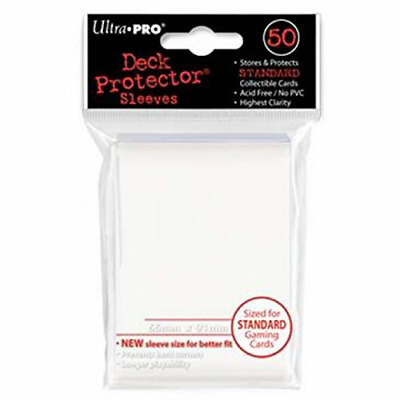 50 Per Pack Ultra Pro Trading Card Sleeves Deck Protectors Standard Size White