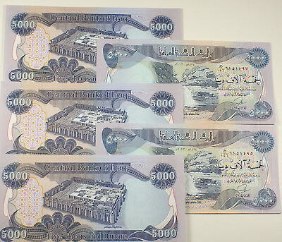25,000 Un-circulated Dinar 5,000 (5 Notes) Iraqi Dinar Notes - serial numbered
