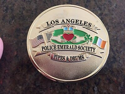 Los Angeles Police Emerald Society Pipes and Drums Challenge Coin LAPD, Bagpipes
