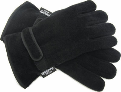 Mens Thermal Insulation Fleece Gloves Lined Warm Winter Black Thinsulate