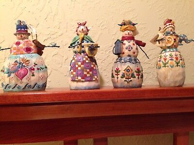 4 Large Jim Shore Snowmen Ornaments/2003