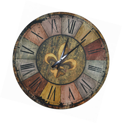 """Lulu Decor, Vintage French Country Style Rustic Round Wood Wall Clock 23.50"""", La"""
