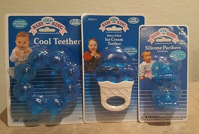 Baby King Pacifier & Cool Teether Ring,Teething Toy, Set, BPA FREE, Lot of 3!!