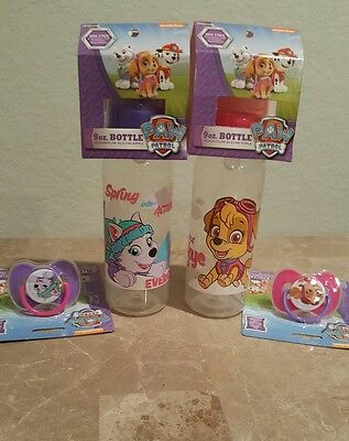NEW Baby King Nickelodeon Paw Patrol pacifier,cover&9oz bottle set,Lot of 4,0+M